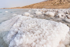Detail of salt on the Dead Sea Stock Photo