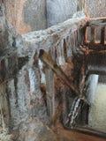 Detail in a salt mine. Detail of a staircase in a saline mine. Location: Turda saline mine,Transylvania,Romania Stock Photography