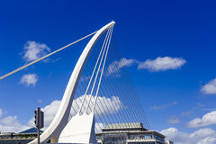 Detail of the Samuel Beckett bridge in Dublin with blue sky. DUBLIN, IRELAND - 10th June, 2017: detail of the Samuel Beckett bridge in Dublin with deep blue sky Royalty Free Stock Photos