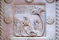 Detail of the San Ranieri gate of the Cathedral St. Mary in Pisa Stock Photo