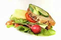 Detail of sandwich. Close-up of sandwiches on white background Stock Images