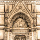 Detail of Santa Croce cathedral in Florence in sepia tone Stock Images