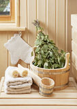 Detail of sauna interior. With traditional sauna accessories Stock Photography