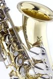 Detail of saxaphone. Isolated on white background Royalty Free Stock Photo