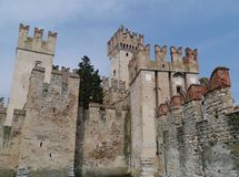 Detail of the Scaliger Castle at the lago di Garda Stock Images