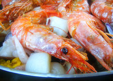 Detail scampi paella. Food,Spanish Stock Photography