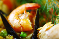 Detail scampi paella. Food,Spanish,mussels Stock Photography