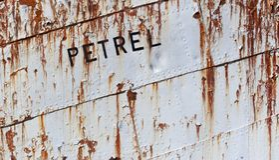 Detail scheepswrak Grytviken Zuid Georgië; detail shipswreck Gry royalty-vrije stock fotografie