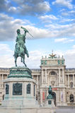 Detail at Sculpture Emperor Joseph II in Vienna Hofburg Imperial Palace,Entrance in sunny day in Vienna, Austria . Royalty Free Stock Photography