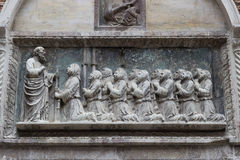 Detail of sculpture on the facade of the Scuola Grande di San Giovanni Evangelista Royalty Free Stock Photos