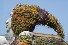 Detail of sculpture with flowers in santa ursula, tenerife, spai Royalty Free Stock Photo