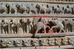 Detail of the sculptures. Jagdish Temple. Udaipur. Rajasthan. India. Jagdish Temple is a large Hindu temple in the middle of Udaipur in Rajasthan. It is a big Royalty Free Stock Photo