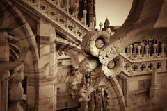 Detail of sculptures on the roof of the Duomo in Milan Stock Images
