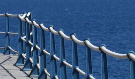 Detail of Sea Wall Roped Barrier royalty free stock image