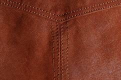 Detail of seam in brown leather jacket Stock Photo