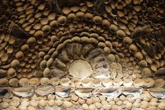 Detail of seashells made into a mural. Shell grotto Margate royalty free stock image