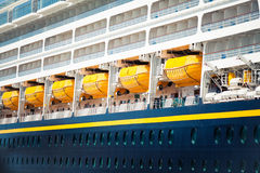 Detail of security boats of a cruise ship. Close up. Stock Photos