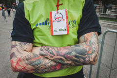 Detail of security guy's tattoos at Cyclopride 2014 Royalty Free Stock Photos