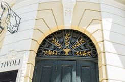 Tivoli Theater, a Cultural Icon of National Reference. Detail of the semi-circular window on top of the entrance door of the neoclassical Tivoli Theater built in stock images