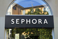 Detail of the Sephora store in Bergamo, Italy. It is a French brand and chain of cosmetics stores founded in Paris stock photography