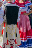 Detail of Serbian and Costa Rican folk costume for women Royalty Free Stock Photo