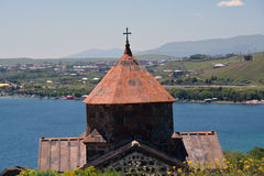 Detail of Sevanavank monsatery in Armenia, with the lake and hou Royalty Free Stock Photos
