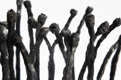 Detail of several burnt matches. An artistic representation of mass cremation, sculpted using burnt matches. This is an original artwork by me royalty free stock image