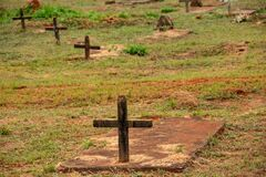 Detail of several crosses in simple tombs.