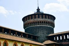 Sforza Castel in Milan in Milan, Italy. Detail of Sforza Castel in Milan. Lombardy, Italy. June 2018 stock images