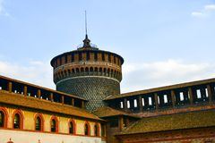 Sforza Castel in Milan in Milan, Italy. Detail of Sforza Castel in Milan. Lombardy, Italy. June 2018 royalty free stock photography