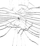 Detail of the shattered glass - cracks and shards. Hit glass royalty free stock photography