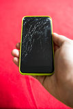 Detail of a shattered smartphone screen Stock Images