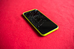 Detail of a shattered smartphone screen Royalty Free Stock Photos