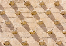 Detail of the shells in Casa de las Conchas in Salamanca, Spain. exterior image shot from public floor Royalty Free Stock Images