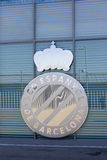 Detail of the shield shiny steel of RCD Espanyol Stock Image