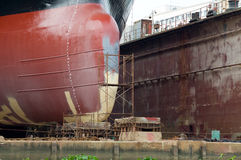 Detail of ship in a floating dock Royalty Free Stock Images