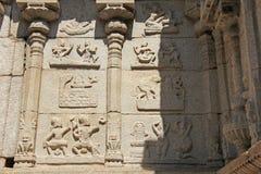 Detail of Shiva Virupaksha Temple, Hampi, Karnataka, India. Stone bas-reliefs.  stock photo