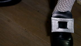 Detail of shoe emblem stock video footage