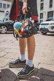 Detail of shoes and bag outside Ferragamo fashion show building Royalty Free Stock Photo