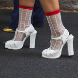 Detail of shoes at Milan Fashion Week Stock Photography