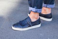 Detail of shoes at Milan Men`s Fashion Week Royalty Free Stock Photography