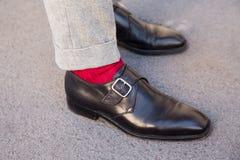 Detail of shoes at Milan Men`s Fashion Week Royalty Free Stock Photos