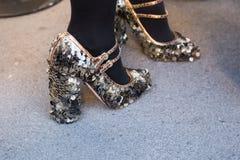 Detail of shoes at Milan Men`s Fashion Week Royalty Free Stock Images