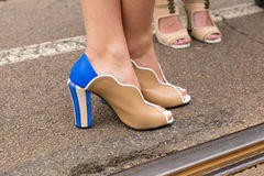 Detail of shoes at Milan Women`s Fashion Week. MILAN, ITALY - FEBRUARY 23: Detail of shoes outside Fendi fashion show during Milan Women`s Fashion Week on Stock Image
