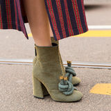 Detail of shoes at Milan Women`s Fashion Week Royalty Free Stock Images