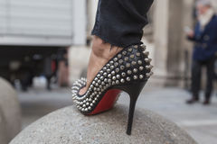 Detail of shoes outside Anteprima fashion show building for Mila Stock Photography