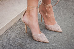 Detail of shoes outside Ferragamo fashion shows building for Milan Women's Fashion Week 2014 Royalty Free Stock Photos