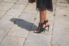 Detail of shoes outside Gucci fashion show building for Milan Me Royalty Free Stock Photography