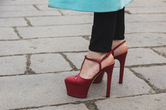 Detail of shoes outside Gucci fashion show building for Milan Wo Stock Photo