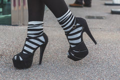 Detail of shoes outside Jil Sander fashion show building for Mil Stock Photo